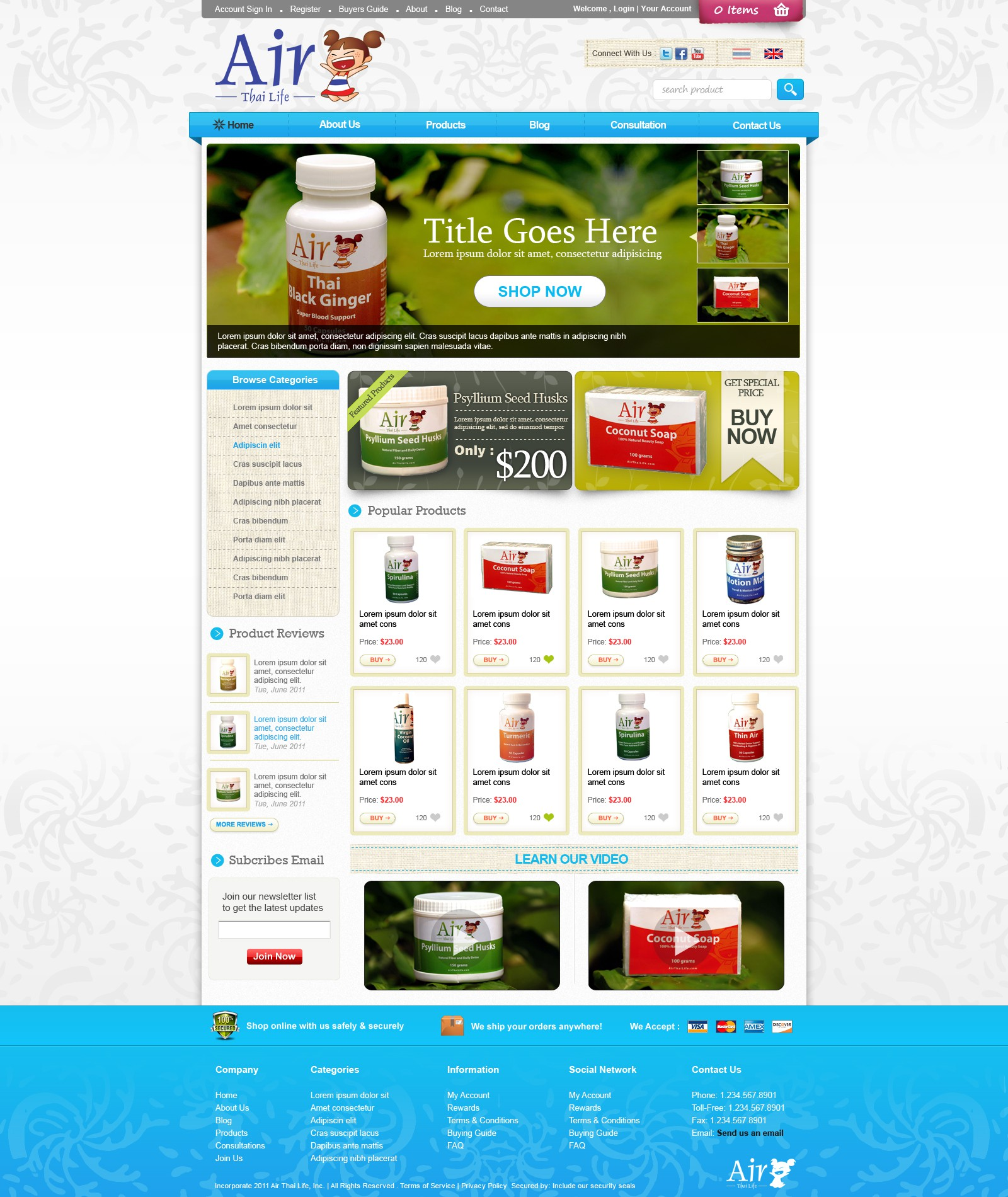 AIR THAI LIFE needs a new website design