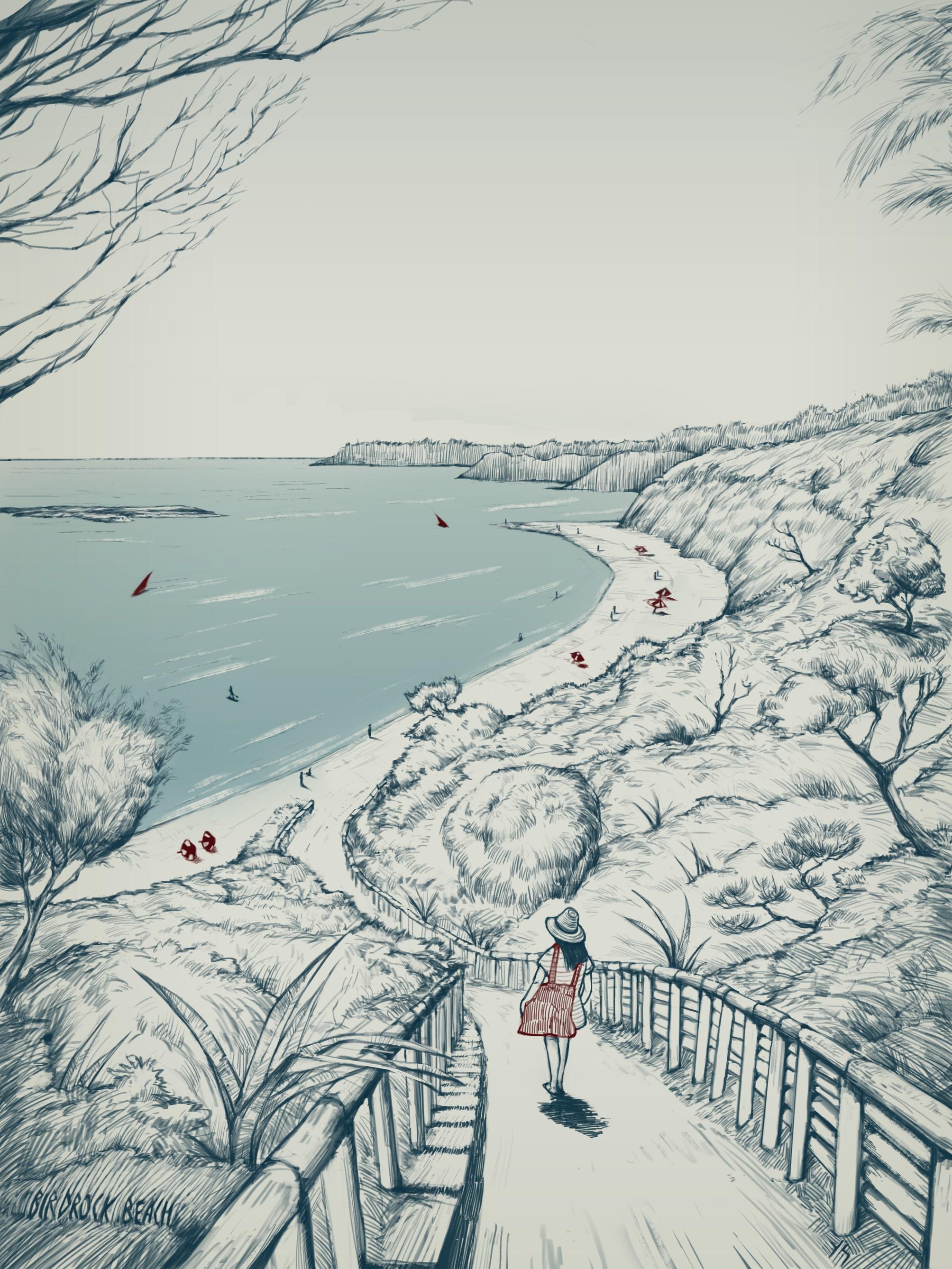 Illustrate an iconic Australian beach scene