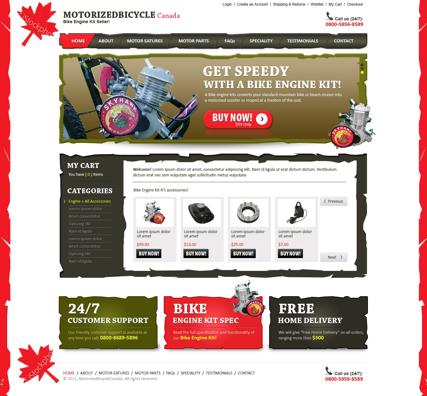 MOTORIZED BICYCLE Canada needs a new website design