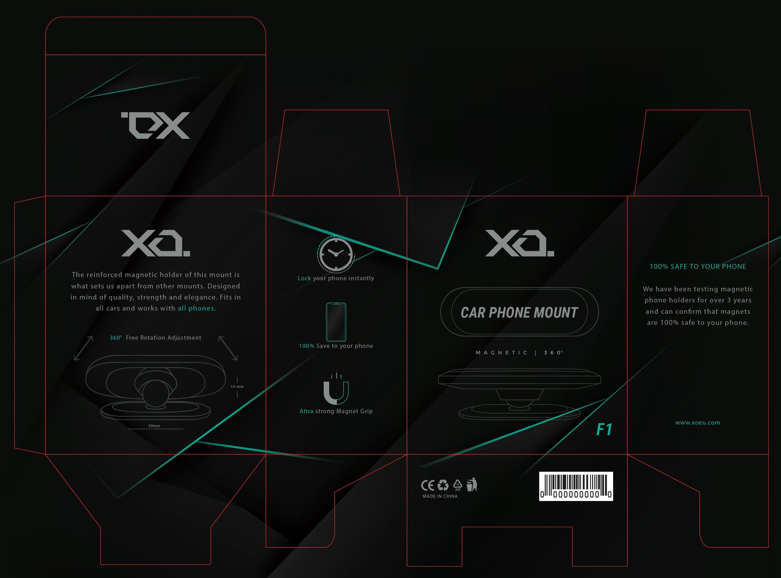 Minimal & Modern Package Design for Car Phone Holder