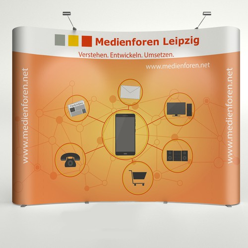 Pop-up stand for media company
