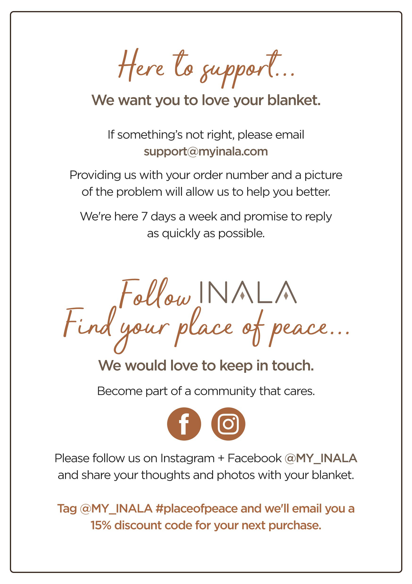 INALA Insert/Thank you Card