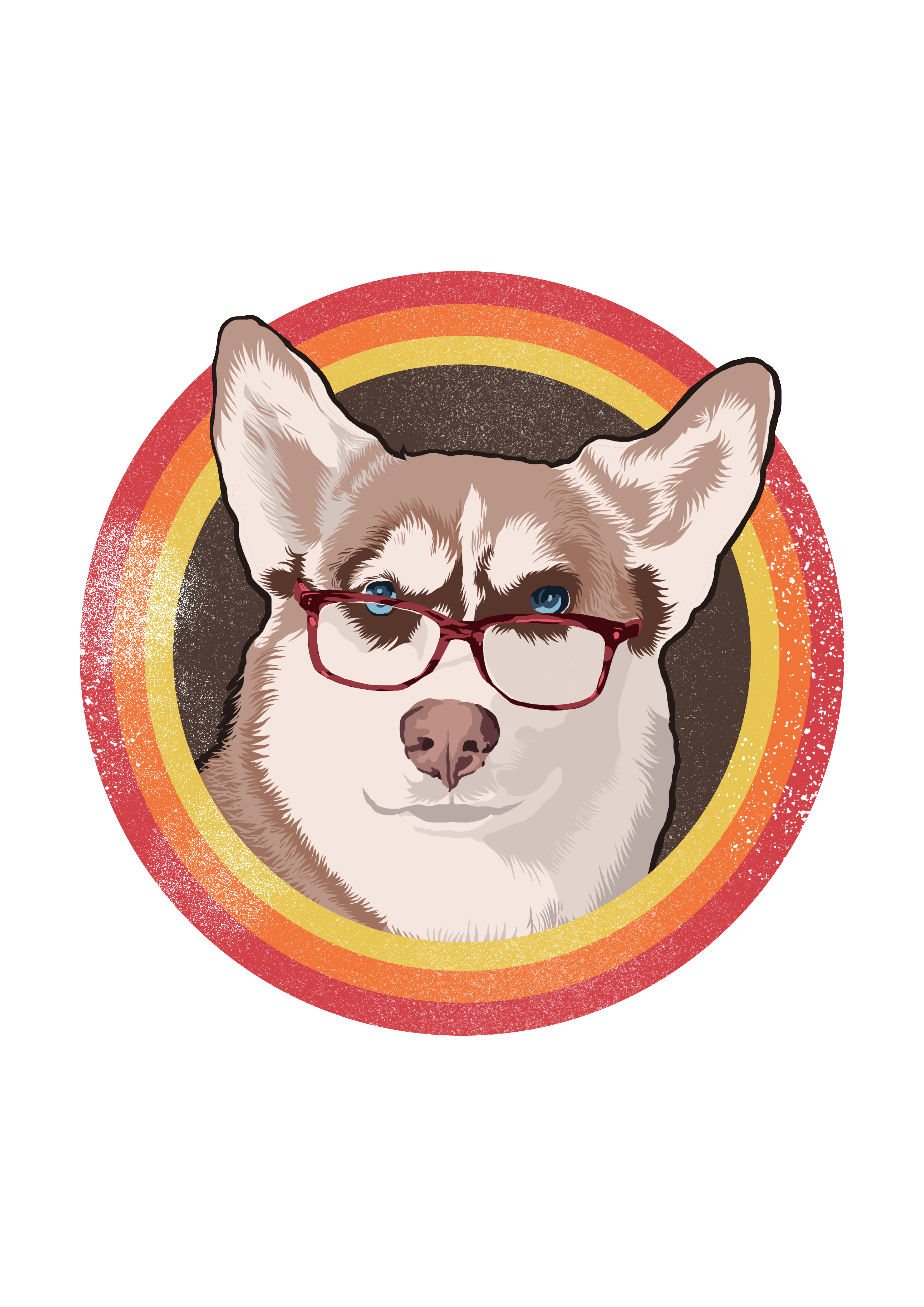 Retro Shirt Design of Dog With Glasses On