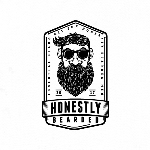 Hipster logo for beard cosmetics.