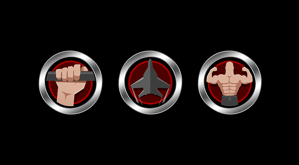 Create a set of 3 icons for our fitness certification.