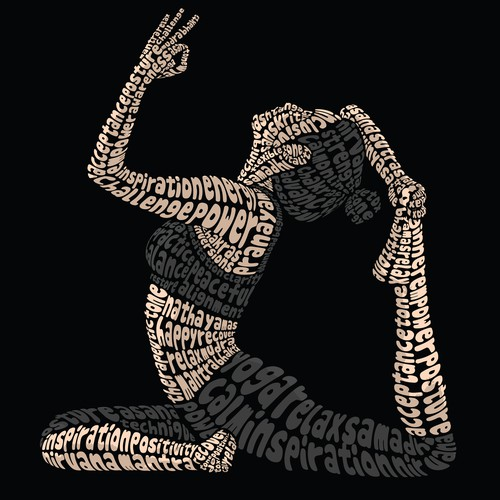 Yoga Pose Typography Illustration