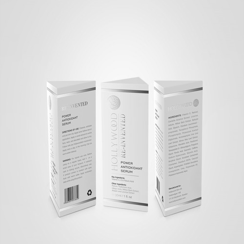 Stand out packaging design for HOLLYWOODSKIN