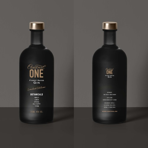 Central ONE Gin Bottle design