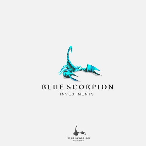 Create an updated Blue Scorpion Logo and Typeface within the GoldenRatio and Triangles