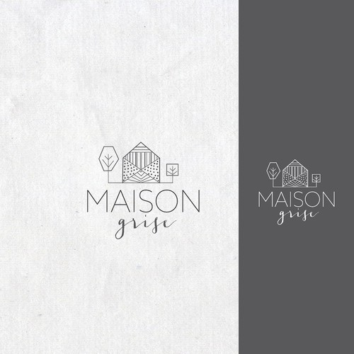 elegant logo for baby and kids store (gray house)