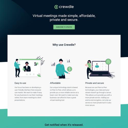 Landing page design for Crewdle