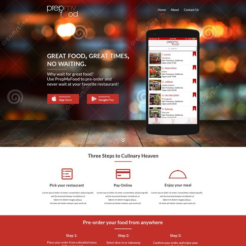 Landing page for food delivery service.
