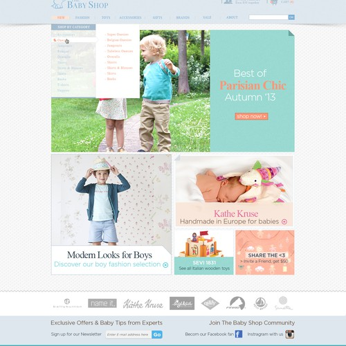 Website design for baby/children clothing shop