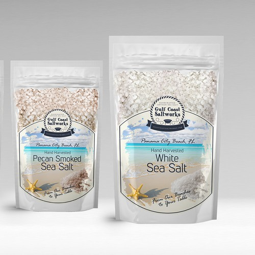 Design the perfect label for the only Sea Salt being harvested from the Gulf.