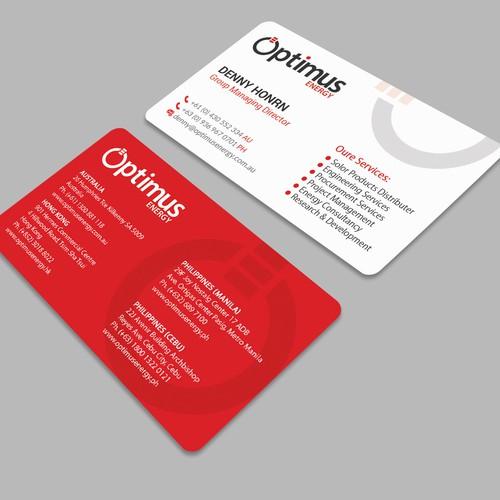 Optimus Energy New Business Card.