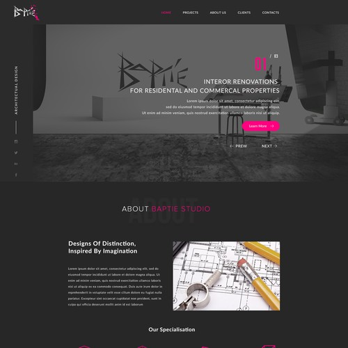 Baptie Architecture Agency Landing Page