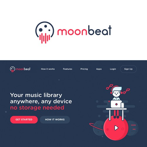 "Logo for ""Moon Beat"", a cloud based music service"