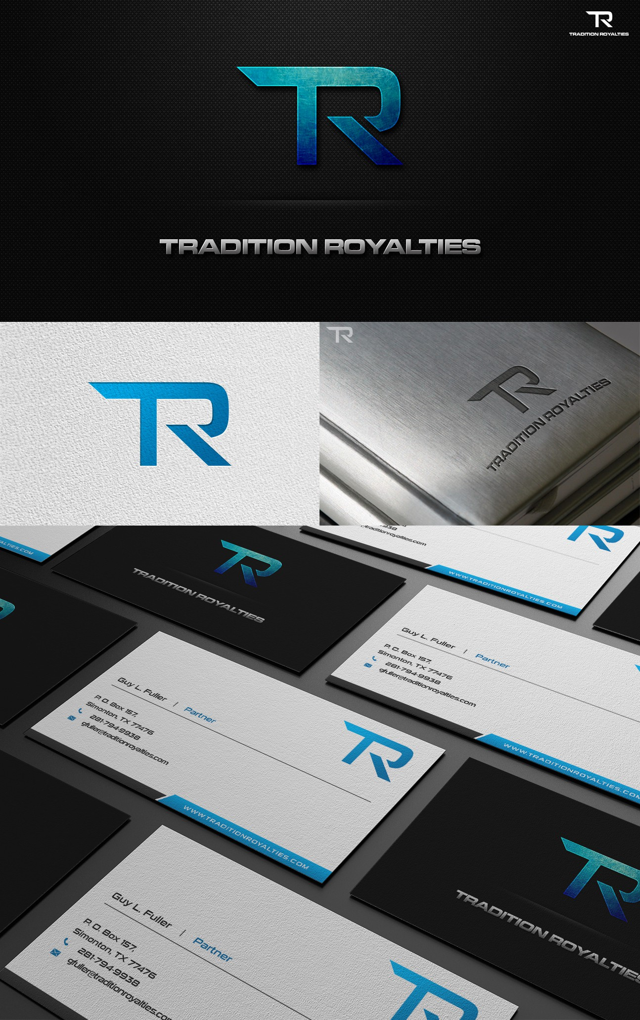 Create the next logo and business card for TRADITION ROYALTIES, LLC