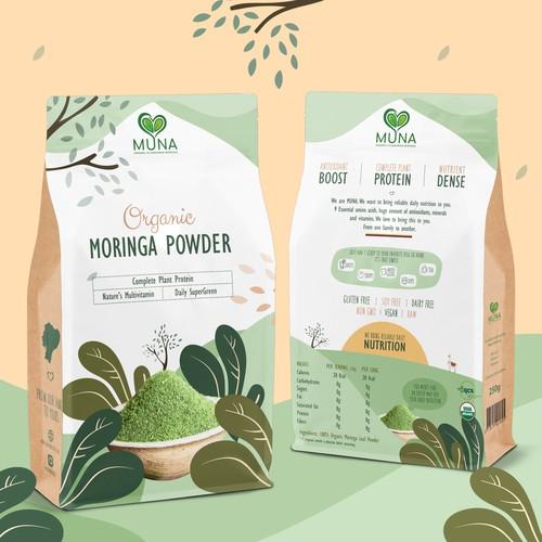 Product packaging for organic Moringa powder
