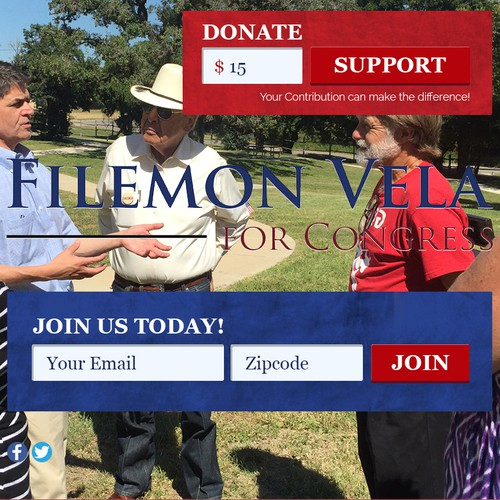 Landing page design for US Politician - Filemon Vela