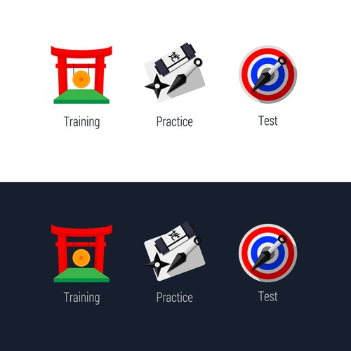 Create 3 flat, somewhat ninja-themed icons for BMAT Ninja