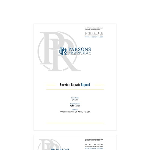 Service Report for Parsons Roofing Company
