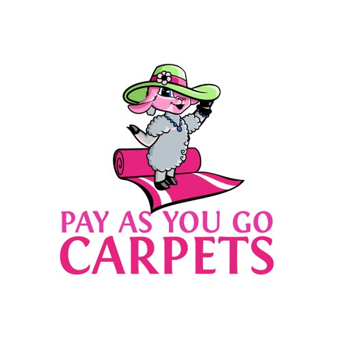 Fun cartoon logo for Pay As You Go Carpets