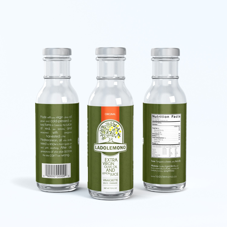 Greek lemon-oil vinaigrette needs a high shelf-impact label to make it fly off the shelves