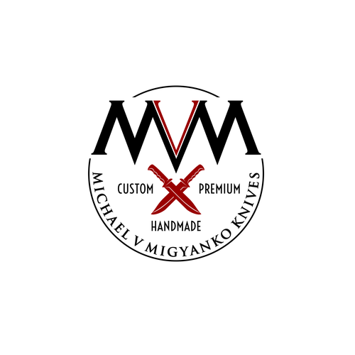 Create a rugged but elegant logo for premium, custom knife shop