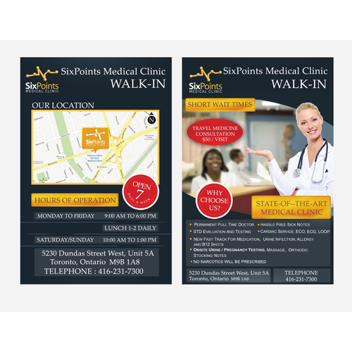 Medical Walk-In Clinic with a new postcard or flyer