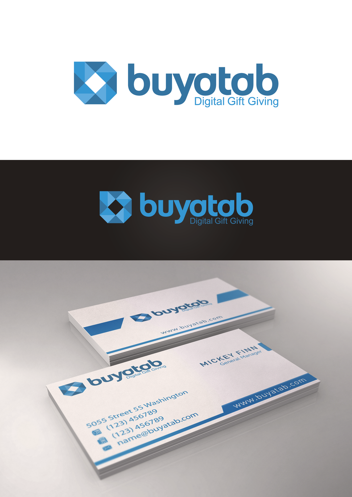 Create the next logo and business card for Buyatab