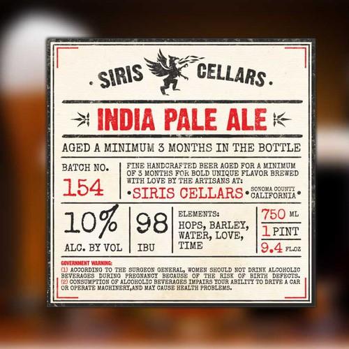 Siris Cellars- Sonoma County's New Artisan Brewery Needs an Eye-catching Label
