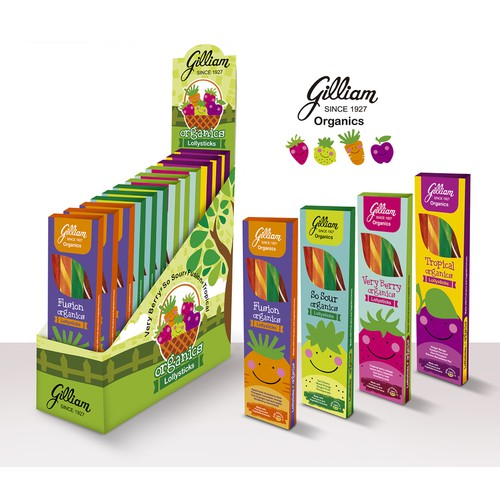 New Packaging for an established brand launching a line of ORGANIC candy sticks for retail