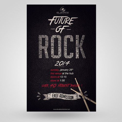 Create a poster design for Elevate Rock School
