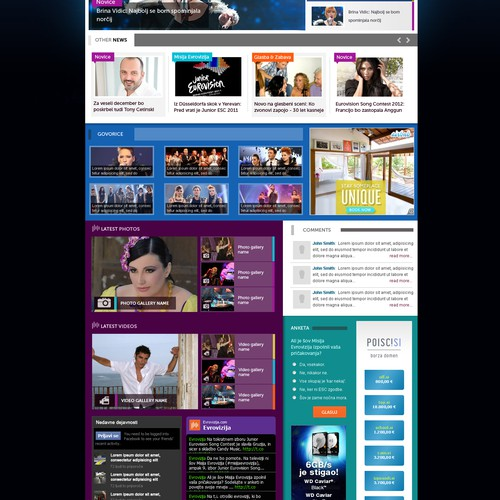 playful website design for music entertainment news site