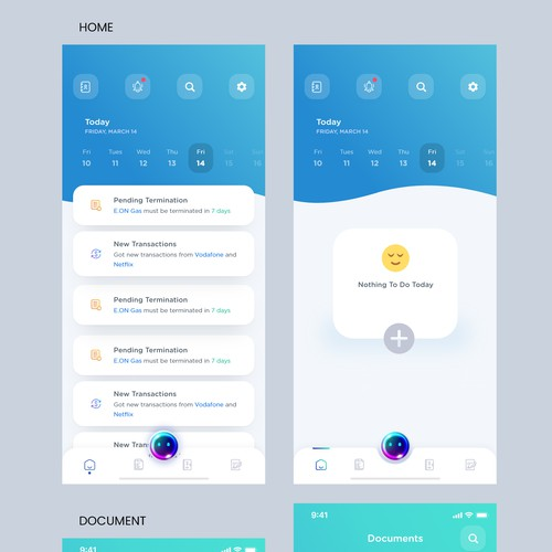 Modern and minimalistic app design for a personal life assistant