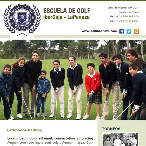 Email Design Template for Golf School