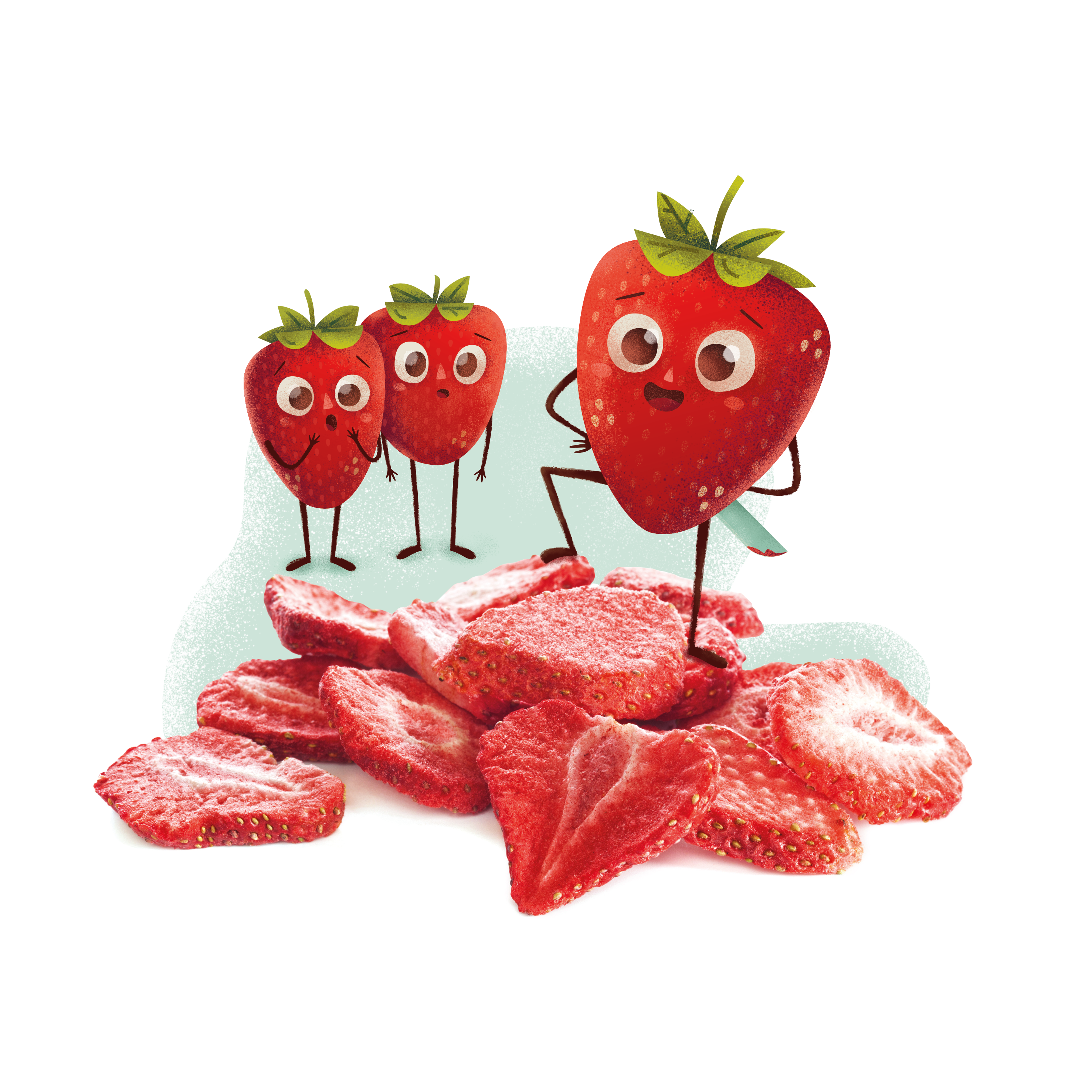 Show me a cool and funny a strawberry can look. Create a strawberry figure!