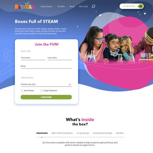 Web design for RATATAZ, a STEAM subscription Box
