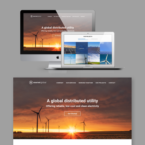 Landing page for a solar energy company