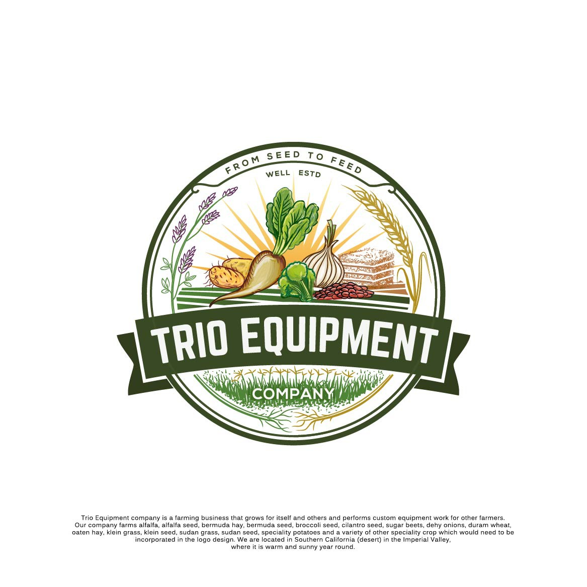 Design an agricultural logo for Trio Equipment Company