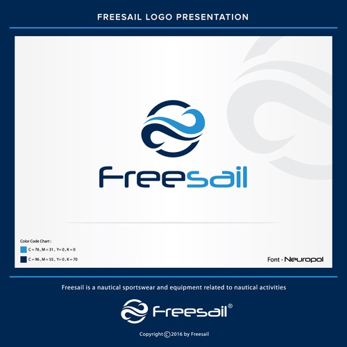 wave concept logo for Freesail