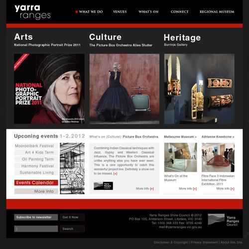 Create the next website design for Yarra Ranges Arts Culture Heritage