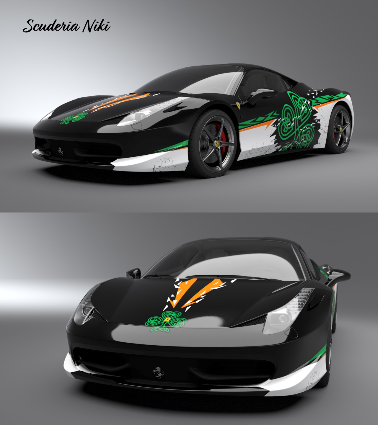 Design the most eye-catching Ferrari 458 Challenge race car for the 2018 season.