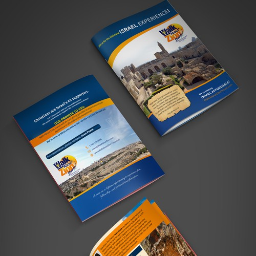 Bi-fold brochure design for Walk Zion Travels