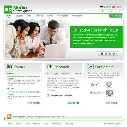 """Website for Academic Research Focus """"Media Convergence"""""""