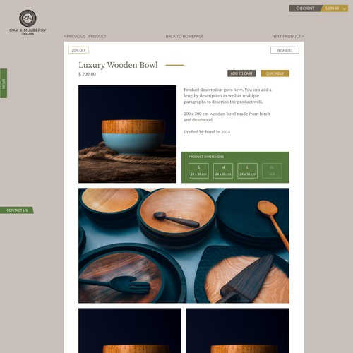 Oak & Mulberry Product Page Design