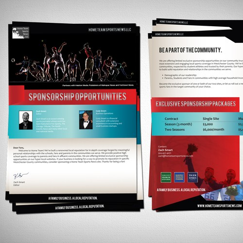Create a Sponsorship brochure for a local sports news outlet
