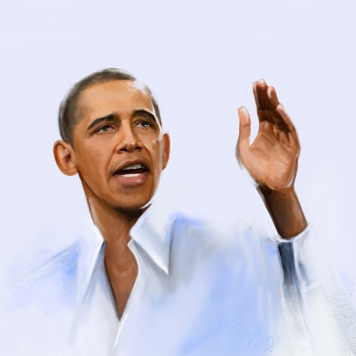 Painting of a Image of PRSDNT. OBAMA
