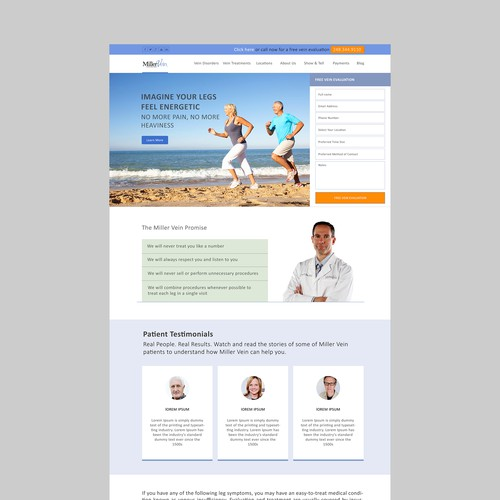 Homepage for Award Winning Vein Clinic